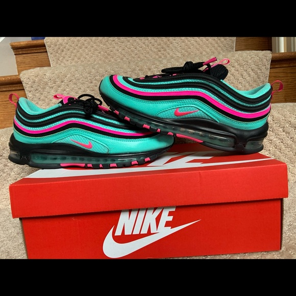 Men 10.5 Nike Air Max 97 South Beach Hyper Turquoise Pink Trainer ...